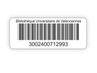 etiquettes code-barres format 50 x 16 mm en polypropylène adhésif pour bibliothèques et CDI