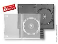 """boîtiers Amaray avec """"push"""" pour 1 DVD, classé anti-casse. Existe en noir et transparent"""