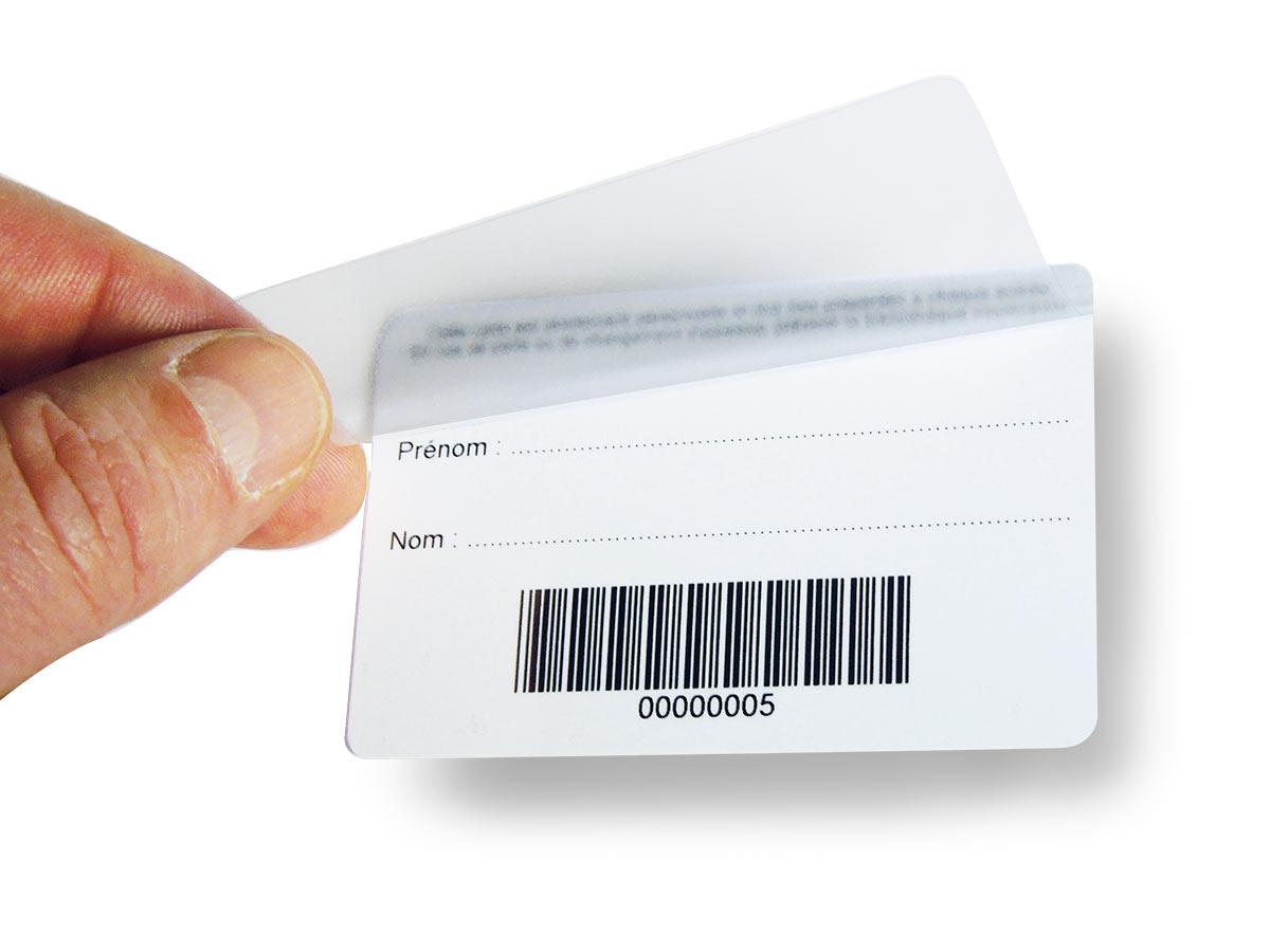 carte de lecteur avec overlay adhésif pré-collé en tête