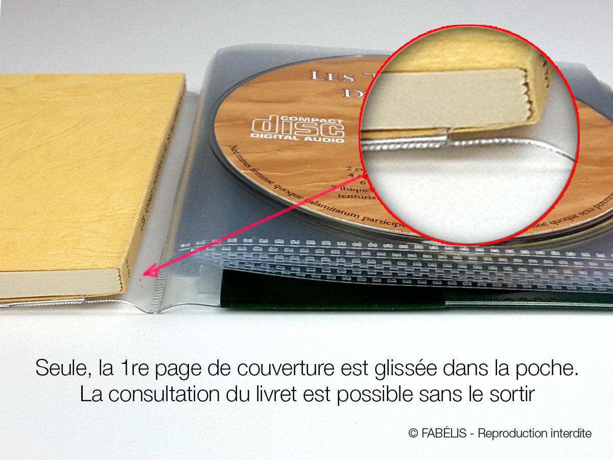 Pochettes et étuis CD : détail de l'insertion d'un gros livret