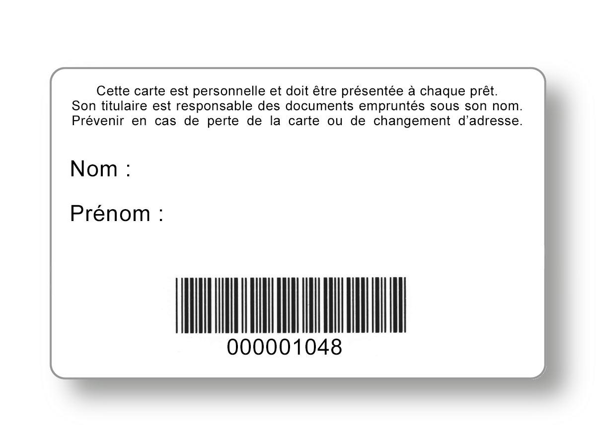 Carte de lecteur avec code-barres intégré, vue du verso