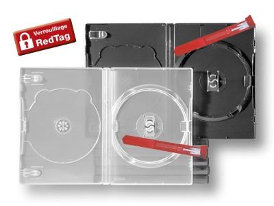 Boîtiers antivol DVD avec barrette de verrouillage Redtag