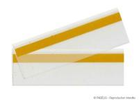 Porte-étiquettes adhésif transparent anti-reflet, format 1330 x 40 mm. A recouper selon vos besoins.